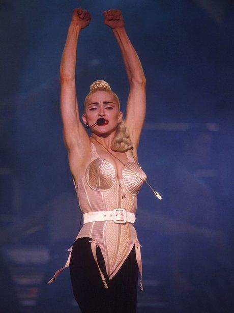Madonna wears her iconic cone bra