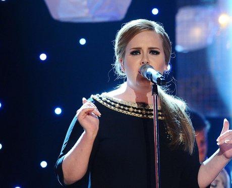 Adele singing on stage
