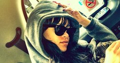 Rihanna in taxi