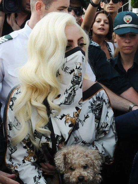 Lady Gaga arrives in Bulgaria.