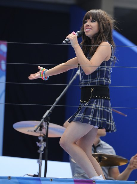 Carly Rae Jepsen performing live on stage
