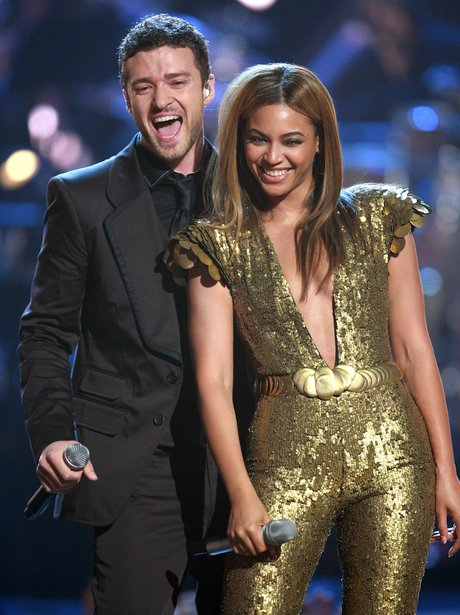 Justin Timberlake and Beyonce perform on stage