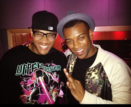 Oritse Williams with his brother in the studio.