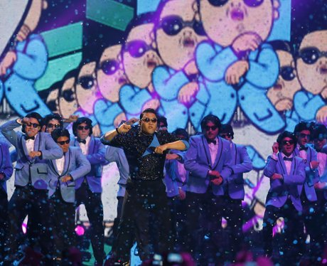 Psy on stage at the MTV Europe Music Awards