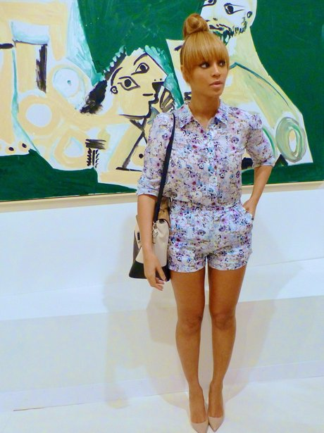 Beyonce wearing a floral playsuit