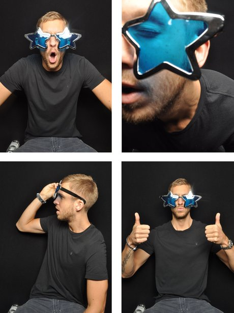 Calvin Harris in the photo booth at the Jingle Bell Ball