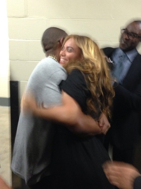 Beyonce and Jay-Z Backstage at the Super Bowl 2013
