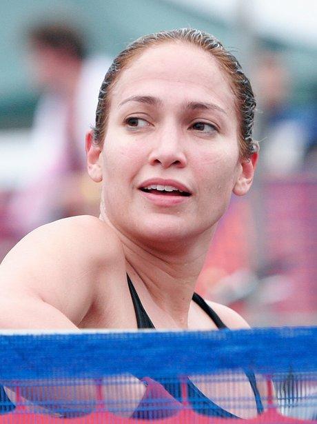 Jennifer Lopez competes at the Nautica Malibu Triathalon