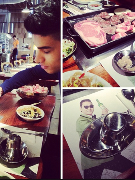 Siva from The Wanted enjoys a spot of food with his bandmates