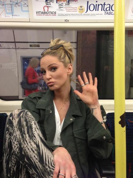 Sarah Harding on the tube