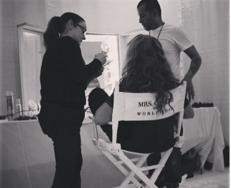 Beyonce backstage in London on her tour