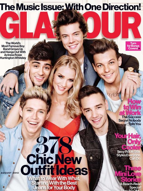 One Direction and Rosie Huntington-Whiteley Glamour cover