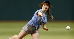 Carly Rae Jepsen playing baseball