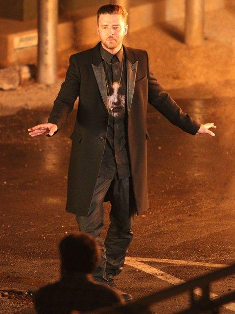 Justin Timberlake filming new video wearing animal printed black shirt