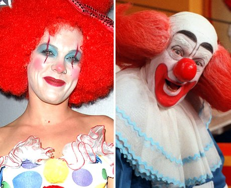 Pink dressed as a clown