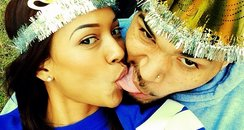 Chris Brown and Karrueche Tran kiss new years day