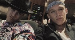 Justin Bieber with Cody Simpson in the studio