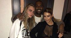 Cara Delevingne, Kim Kardashian and Kanye West