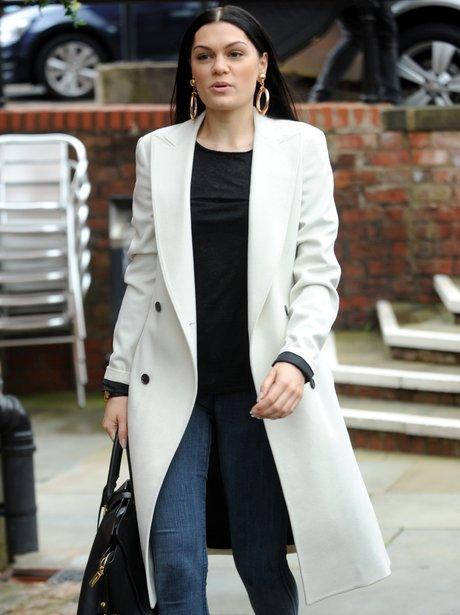 Jessie j wearing a long white coat