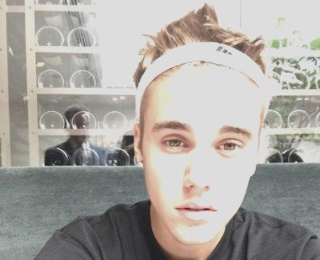 Justin Bieber wearing a sweatband