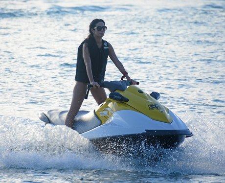 Tulisa on a jet ski in Barbados