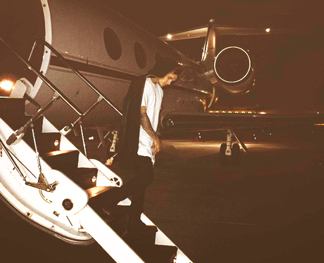 Justin Bieber on a private jet