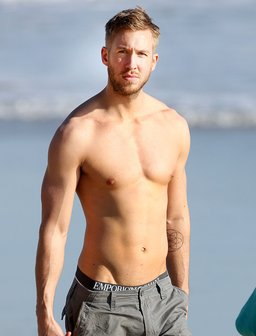 Calvin Harris topless on the beach