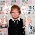 Ed Sheeran BRIT Awards 2015 Backstage