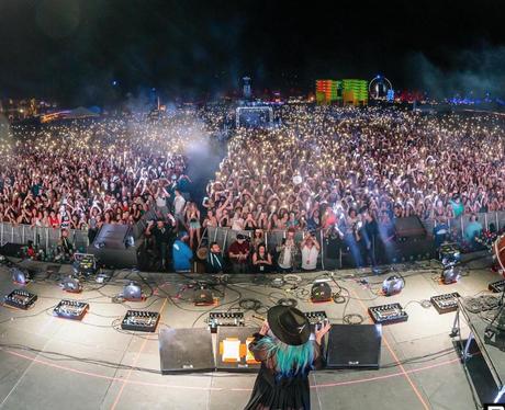 Coachella 2016 Kesha on stage with Zedd