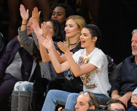 Kendall Jenner and Karlie Kloss at basketball game